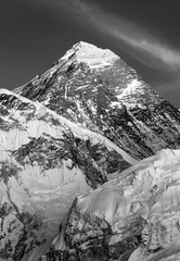 black and white view of Mount Everest from Kala Patthar