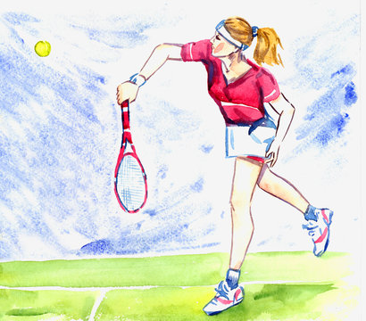 Athlete woman tennis player hits the ball by racket on the court on a sunny summer day, hand painted watercolor illustration