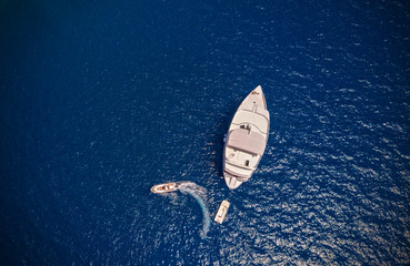 Aerial view of small boats in sea