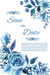 Watercolor invitation with blue roses.