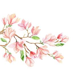 Watercolor magnolia flower card.