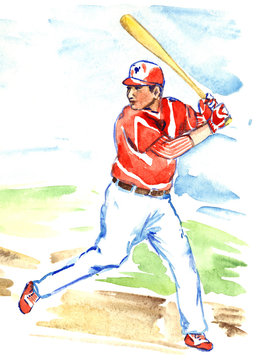 Athlete baseball player (batter or hitter) is awaiting to hit with baseball-bat on field on a sunny summer day, hand painted watercolor illustration