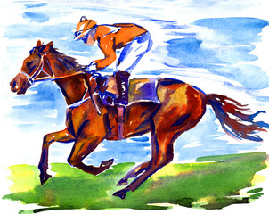 Athlete jockey on horseback participating in racing on the racetrack on a sunny summer day, hand painted watercolor illustration