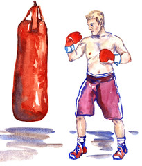 Boxer during training boxing on red punching bag, hand painted watercolor illustration