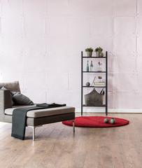 modern living room interior style with metal bookcase and armchair