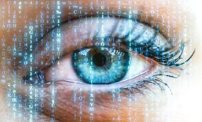 Weibliches Auge mit Computermatrix.