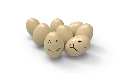 Smiling cute egg Festival food and be happy isolated and a white background