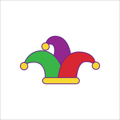 Carnival or clown or Mardi Gras hat simple flat icon on background