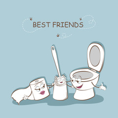 Best friends. Cute picture of a toilet and toilet paper and a toilet brush. Cartoon bathroom. Vector illustration.