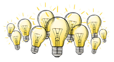 Hand drawn lightbulb with multimedia icons flying around