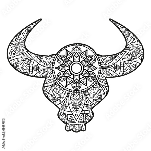 Vector Illustration Of A Bull S Head Mandala For Coloring Book