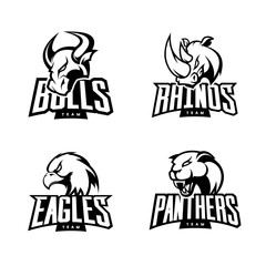 Furious rhino, bull, eagle and panther mono sport vector logo concept set isolated on white background. 