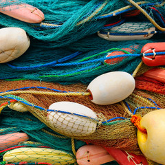 background of colorful fishing nets and floats