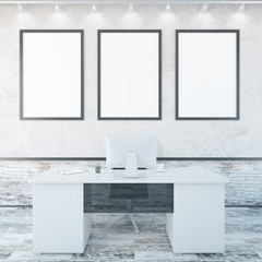 Office interior with empty frames