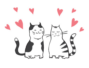 vector valentines card with two cats