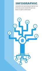 Infographic tech tree with round space for symbol. Text place. Vector illustration. White background and blue stripes