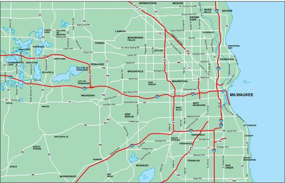 Milwaukee Area Map with Roads