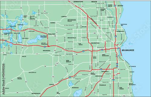 Milwaukee Area Map with Roads\
