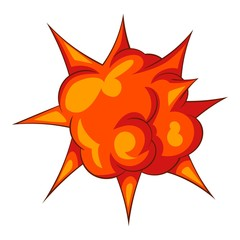 Blast with fire icon, cartoon style