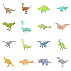 Different dinosaurs icons set, cartoon style