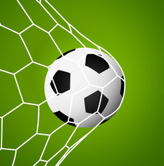 Soccel goal net football ball sport symbol success green background vector stock