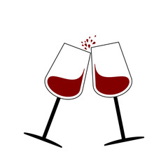 Red wine glass flat  on white background vector