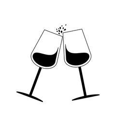 Wine glass flat  on white background vector