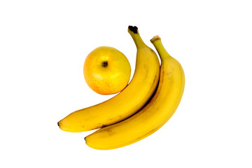 two bananas and an Apple on white background isolated. Healthy food. Fruits