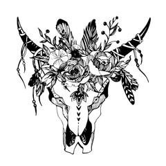 Boho chic image Fashion illustration Wild skull with flowers Boho style For t-shirt, invitation, posters