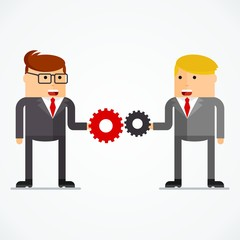 Successful businessmans with gear, business situation concept. Working in office, desire to succeed, teamwork and management. Flat vector cartoon illustration. Objects isolated on white background.