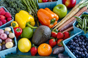 Assorted Fruits and Vegetables Background