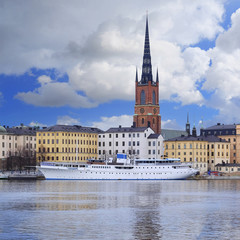 Stockholm, Sweden - March, 16, 2016: panorama of Old Town of Stockholm, Sweden, with the boats on a sea