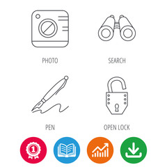 Photo, open lock and search icons. Pen linear sign. Award medal, growth chart and opened book web icons. Download arrow. Vector