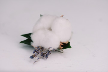Tender lavander and cotton put in a boutonniere