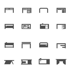 working table desk icon set vector
