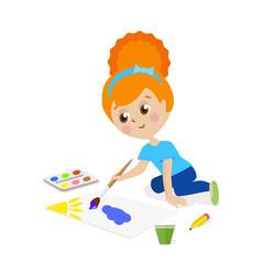 Girl sitting on the floor and draw a picture paints. The child is engaged in creativity. Gouache and watercolor. Flat character isolated on white background. Vector, illustration EPS10.