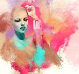 Beautiful young woman. Digital art