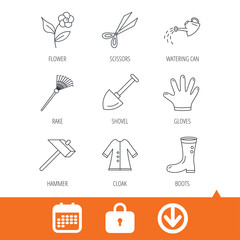 Scissors, hammer and gloves icons. Shovel, watering can and rake linear signs. Cloak, boots and flower flat line icons. Download arrow, locker and calendar web icons. Vector