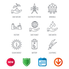 Save nature, planet and water icons. Minerals, lightning and solar energy linear signs. Battery, factory and electricity station icons. New tag, shield and calendar web icons. Download arrow. Vector