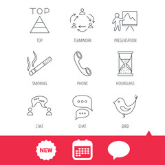 Teamwork, presentation and phone call icons. Chat speech bubble, hourglass and bird linear signs. Smoking, pyramid icons. New tag, speech bubble and calendar web icons. Vector