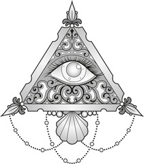 Vector illustration of a grayscale eye inside a decorated triangle