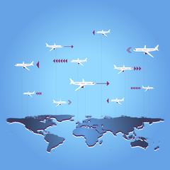 Travel destinations / Airplane travel above the world map