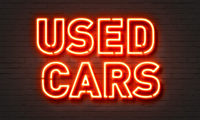 Used cars neon sign Wall mural