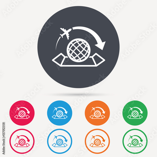 World map icon globe with arrow sign plane travel symbol round world map icon globe with arrow sign plane travel symbol round circle buttons gumiabroncs Images