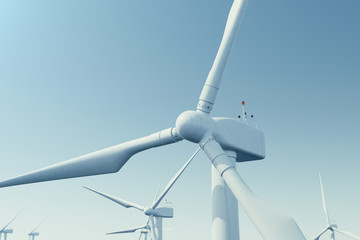 Offshore wind turbine farm in the sea, ocean. Clean energy, wind energy, ecological concept. 3d rendering
