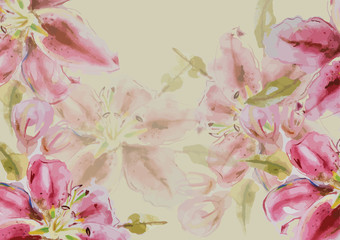 hand drawn watercolor painting flowers illustration for background