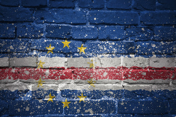painted national flag of cape verde on a brick wall