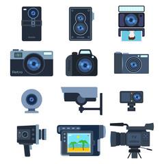 Photograph digital equipment camera vector illustration.