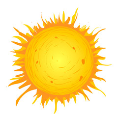 Vector illustration. Sun on white background.