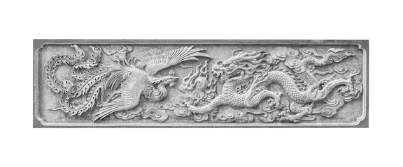 Stone carving  Chinese Swan and Dragon isolated